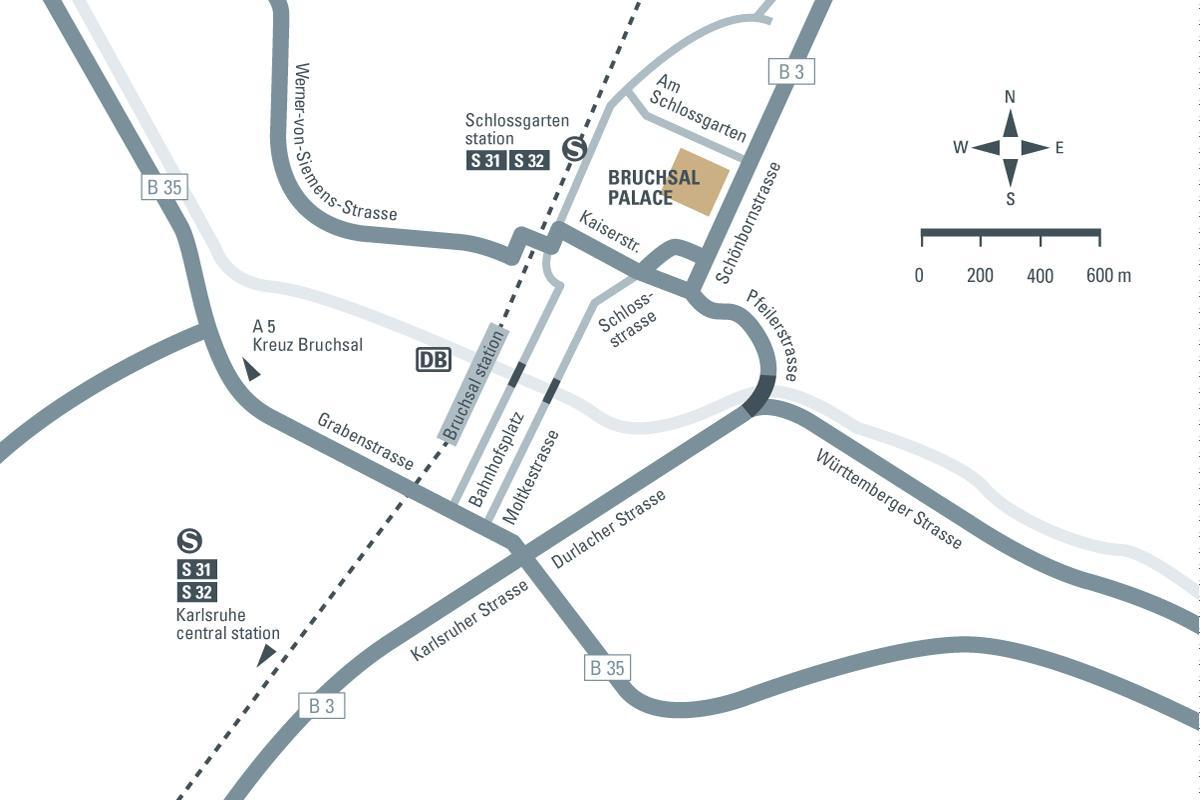 How to get to Bruchsal Palace, illustration: Staatliche Schlösser und Gärten Baden-Württemberg, JUNG:Kommunikation
