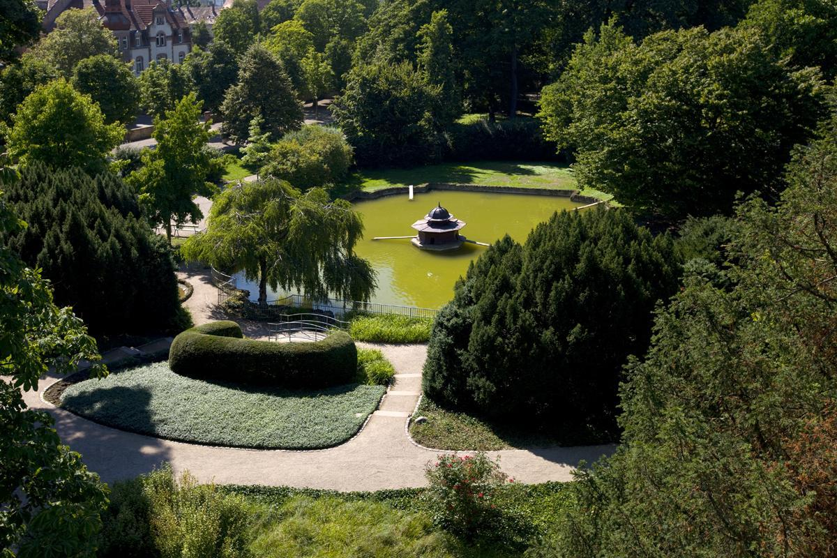 Luftansicht des Gartens von Schloss Bruchsal; Foto: Staatliche Schlösser und Gärten Baden-Württemberg, Achim Mende