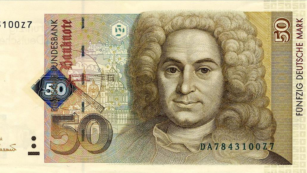 50 D-Mark Banknote mit Bildnis Balthasar Neumanns; Foto: Deutsche Bundesbank