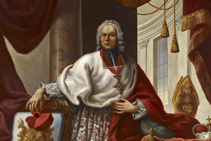 Portrait of Prince-Bishop Franz Christoph Hutten by Johann Zick, circa 1750, in the Royal Hall of Bruchsal Palace. Image: Staatliche Schlösser und Gärten Baden-Württemberg, Andrea Rachele