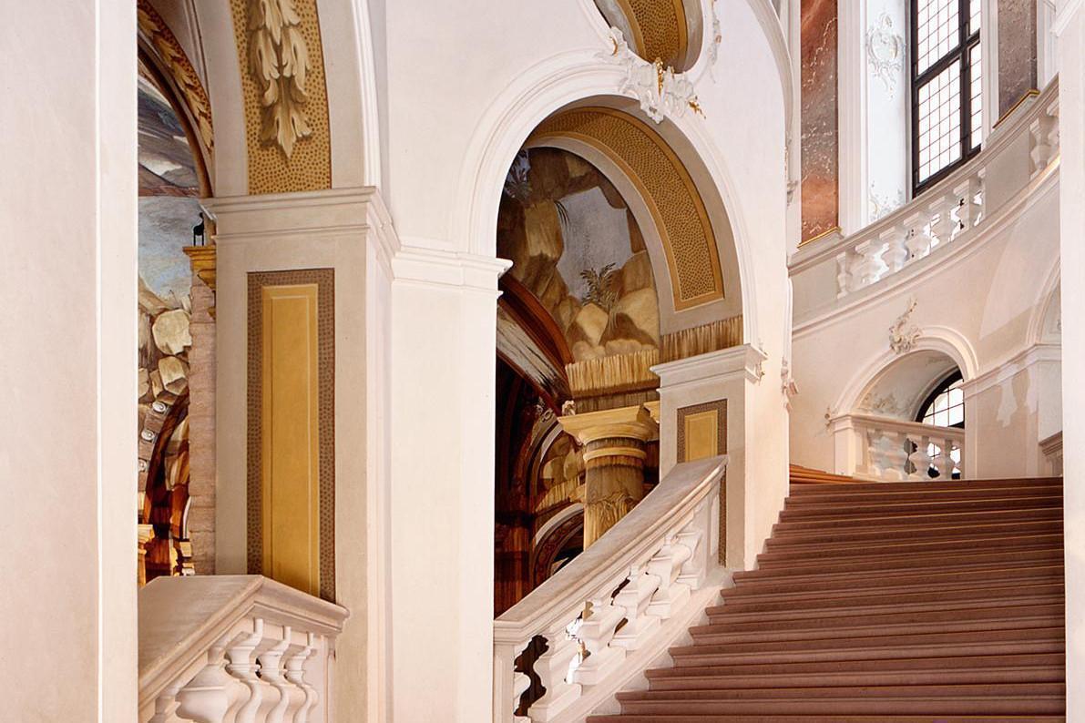 North stairs of the staircase of Bruchsal Palace. Image: Staatliche Schlösser und Gärten Baden-Württemberg, Andrea Rachele