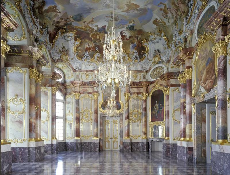 Marmorsaal im Schloss Bruchsal; Foto: Staatliche Schlösser und Gärten Baden-Württemberg, Steffen Hauswirth