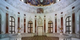 Domed Hall in Bruchsal Palace.