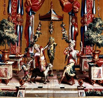 Tänzerinnen, Detail aus Wandteppich der Groteskenfolge, Schloss Bruchsal; Foto: Staatliche Schlösser und Gärten Baden-Württemberg, Arnim Weischer