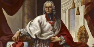 Portrait of Prince-Bishop Franz Christoph Hutten by Johann Zick, circa 1750, in the Royal Hall of Bruchsal Palace.