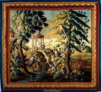 """Schloss Bruchsal, Tapisserie """"Ausblick auf einen Tempel mit Glocke"""", Aubusson 2. Viertel 18. Jahrhundert"""