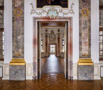 Schloss Bruchsal, Innen, Fürstensaal, Tür