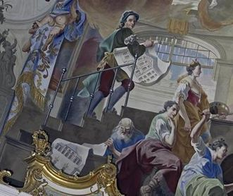 Detail from the ceiling painting by Johann Zick in the Domed Hall of Bruchsal Palace, 1752. Image: Staatliche Schlösser und Gärten Baden-Württemberg, Arnim Weischer