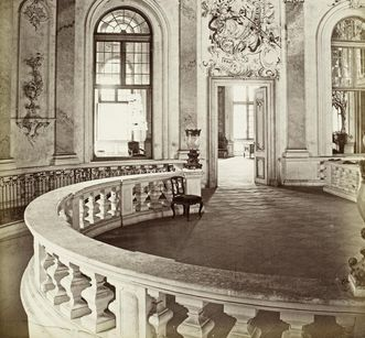 Historical photography of the Domed Hall of Bruchsal Palace, photo circa 1870. Image: Staatliche Schlösser und Gärten Baden-Württemberg, Georg Maria Eckert