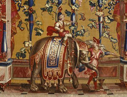 """Schloss Bruchsal, Detail Tapisserie """"Elefantentreiber"""" aus der Grotesken-Serie, Beauvais, 1685-1719"""