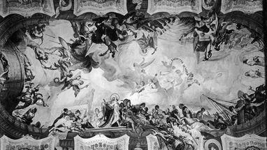 Historische Fotografie des Deckengemäldes von Cosmas Damian Asam in der Hofkirche Bruchsal;  Foto: Staatliche Schlösser und Gärten Baden-Württemberg, Urheber unbekannt