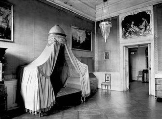 Schloss Bruchsal, Beletage, Appartement Amalie von Baden, Schlafzimmer, Aufnahme vor 1945