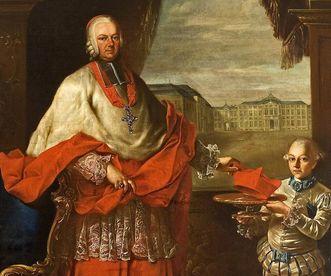 Portrait of Prince-Bishop Franz Christoph Hutten with Bruchsal Palace in the background, by Nicolas Treu, after 1761. Image: Staatliche Schlösser und Gärten Baden-Württemberg, Arnim Weischer