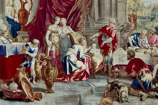 """Schloss Bruchsal, Tapisserie """"Fest des Lykurg"""", Manufaktur Daniel und Urban Leyniers und Hendrik Reydams, Entwurf Victor Janssens, Brüssel, um 1735 – 1745"""
