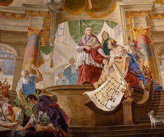Schloss Bruchsal, Innen, Kuppelsaal, Kuppel, Details; Foto: Dr. Manfred Schneider, Nußloch, www.manfred-schneider.de