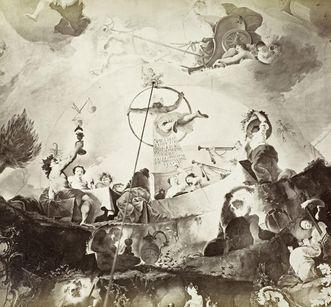 Historical photography of the ceiling painting in the Marble Hall of Bruchsal Palace, circa 1870. Image: Staatliche Schlösser und Gärten Baden-Württemberg, Georg Maria Eckert