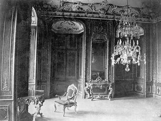 Schloss Bruchsal, Historische Aufnahme Rotes Zimmer