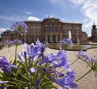 Gartenfront von Schloss Bruchsal mit blühender Pflanze; Foto: Staatliche Schlösser und Gärten Baden-Württemberg, Achim Mende