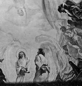 Detail from the historical photograph of the ceiling painting by Cosmas Damian Asam in Bruchsal Palace church. Image: Staatliche Schlösser und Gärten Baden-Württemberg, credit unknown