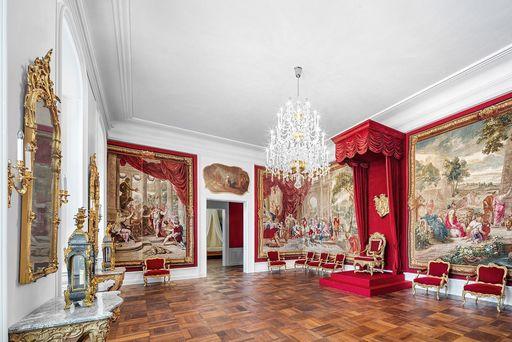 Château de Bruchsal, la salle du trône; l'image: Staatliche Schlösser und Gärten Baden-Württemberg, Dirk Altenkirch