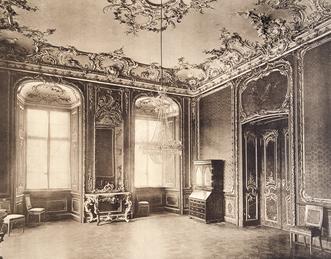 Schloss Bruchsal, Konsoltisch im Roten Zimmer, historische Aufnahme vor 1910