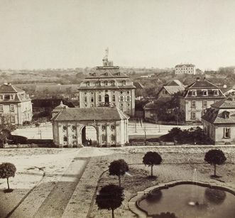 View of the courtyard of Bruchsal Palace with gate guardhouse and solicitors' building, circa 1870