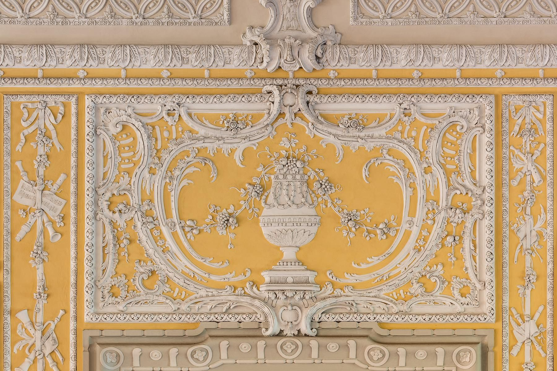 Schloss Bruchsal, chamber wing, chamber music hall, stucco decoration; Photo: Dr. Manfred Schneider, Nußloch, www.manfred-schneider.de