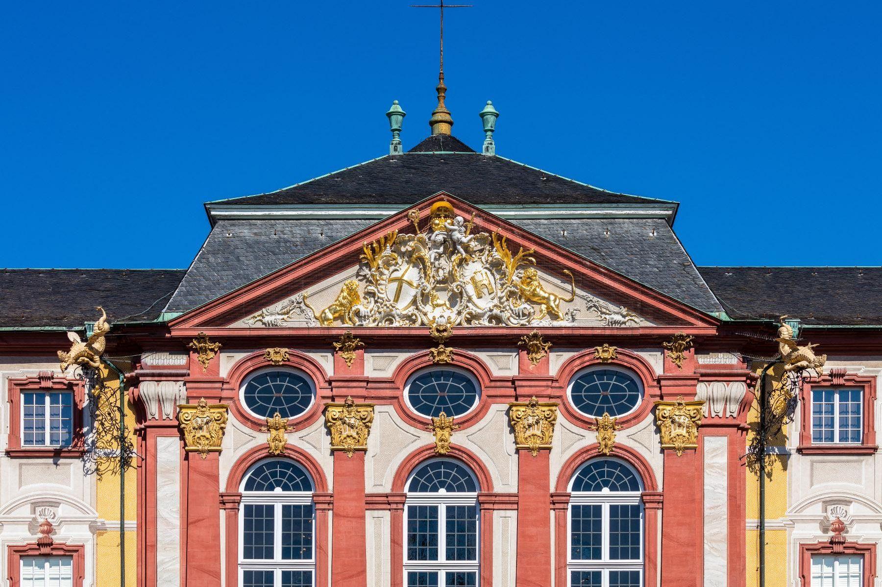 Schloss Bruchsal, Außen, Hauptbau von Osten, Fassade; Foto: Dr. Manfred Schneider, Nußloch, www.manfred-schneider.de